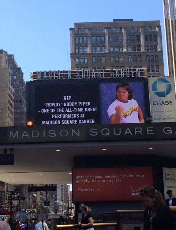 Roddy Piper Featured On Madison Square Garden Marquee Wrestlingfigs